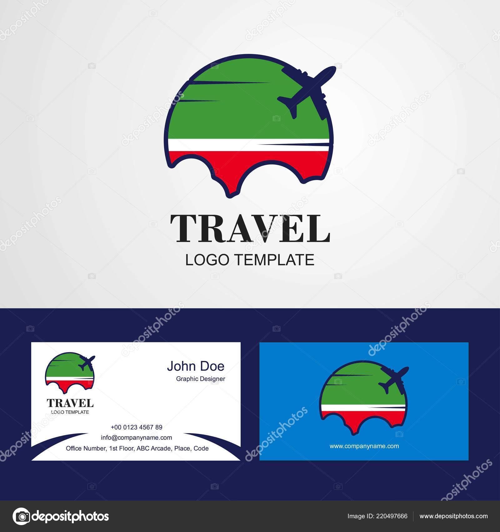 Rpublique Tchtchne Voyage Drapeau Logo Carte Visite Design Image Vectorielle