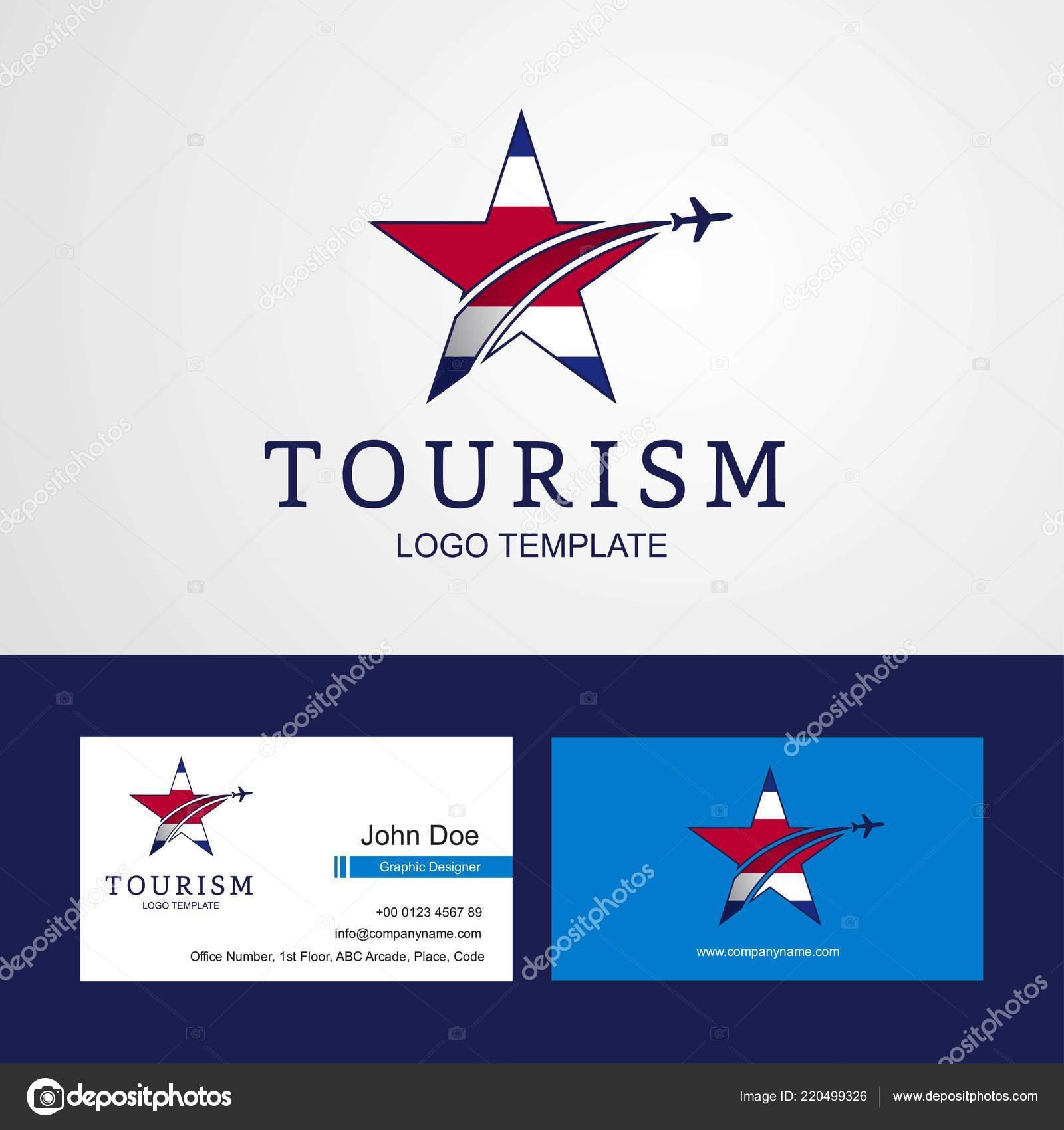 Voyage Costa Rica Drapeau Design Creatif Star Logo Et Carte De Visite Vecteur Par Ibrandify