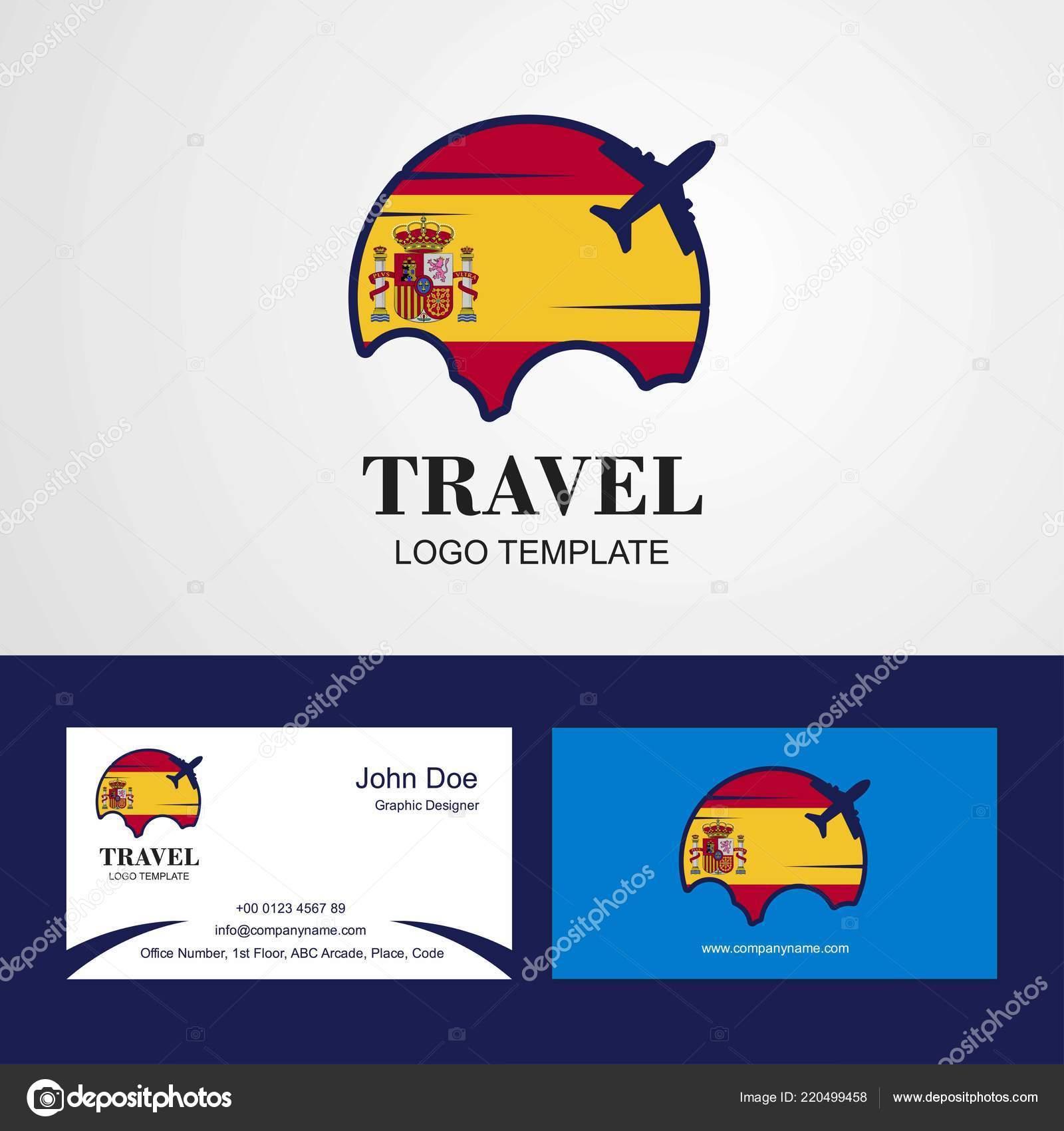 Voyage Espagne Drapeau Logo Et Carte De Visite Design Vecteur Par Ibrandify