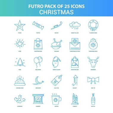 25 Green and Blue Futuro Christmas Icon Pack icon