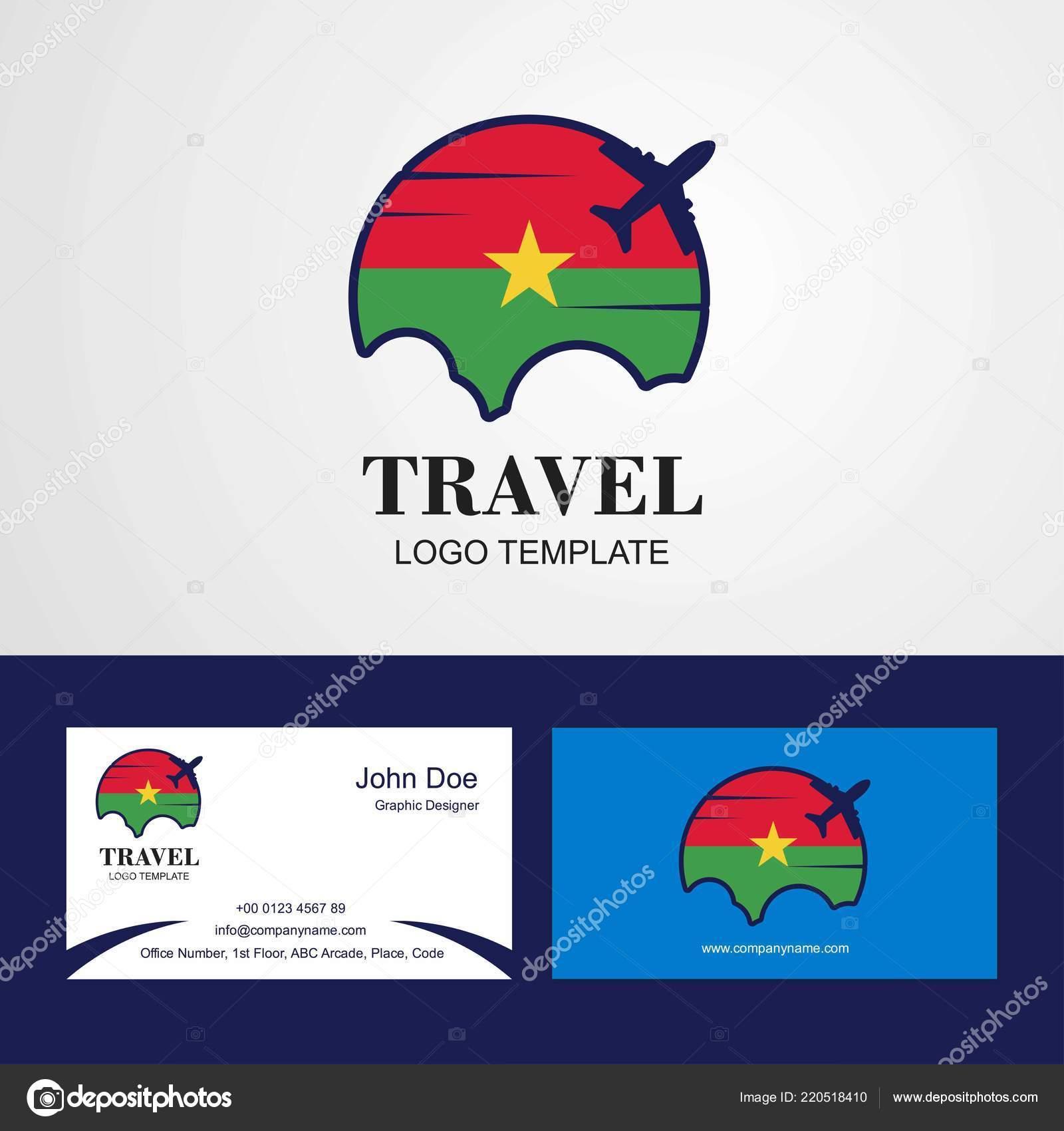 Voyage Burkina Faso Flag Logo Carte Visite Design Image Vectorielle