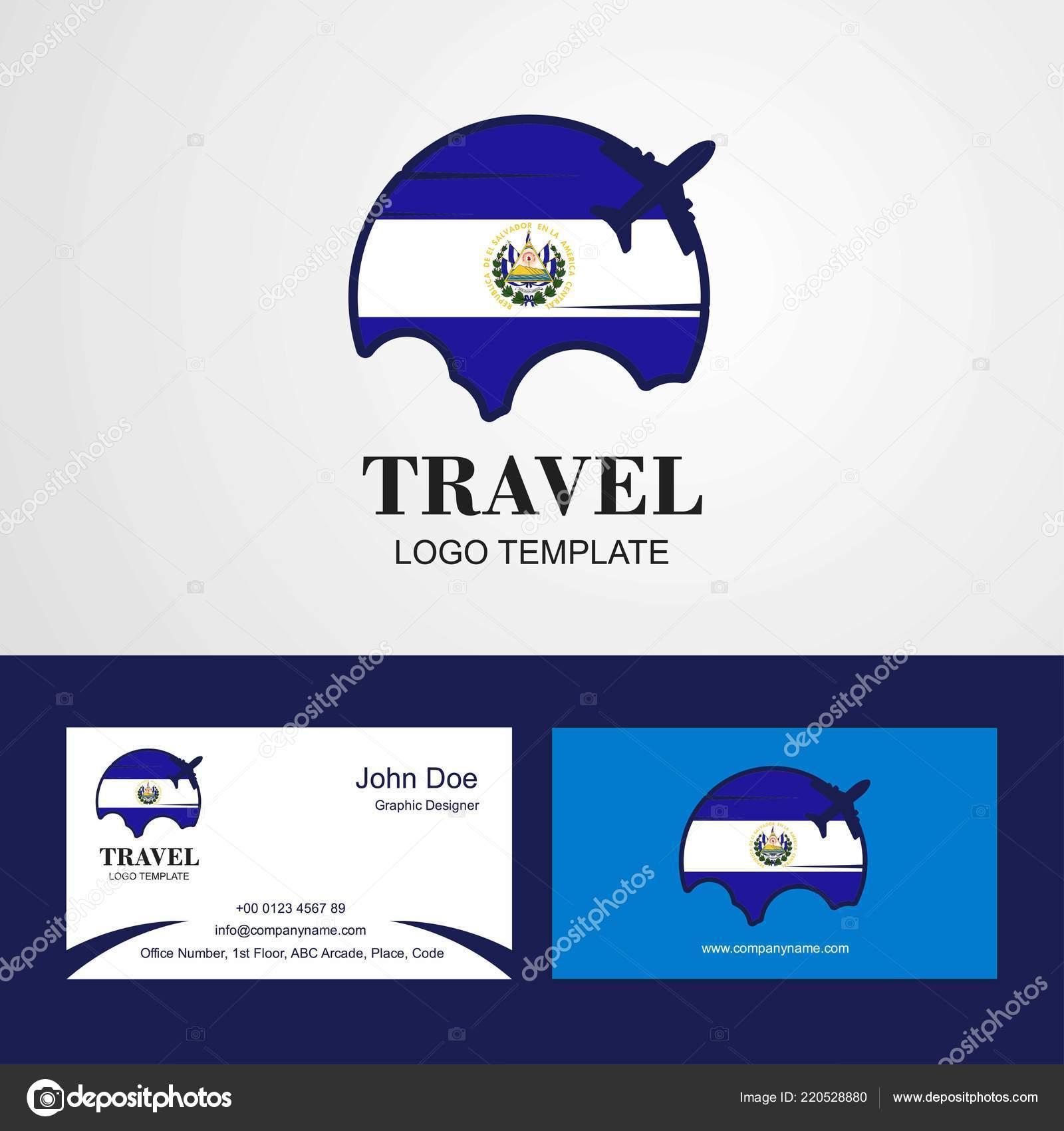 Travel Salvador Flag Logo Visiting Card Design Stock