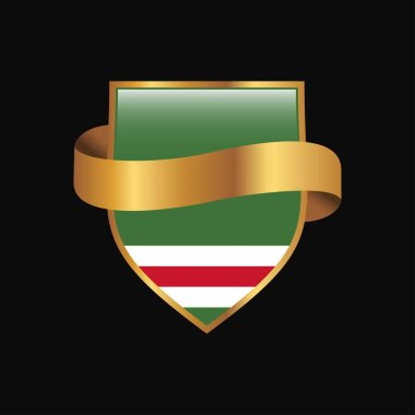 Chechen Republic of Lchkeria flag Golden badge design vector