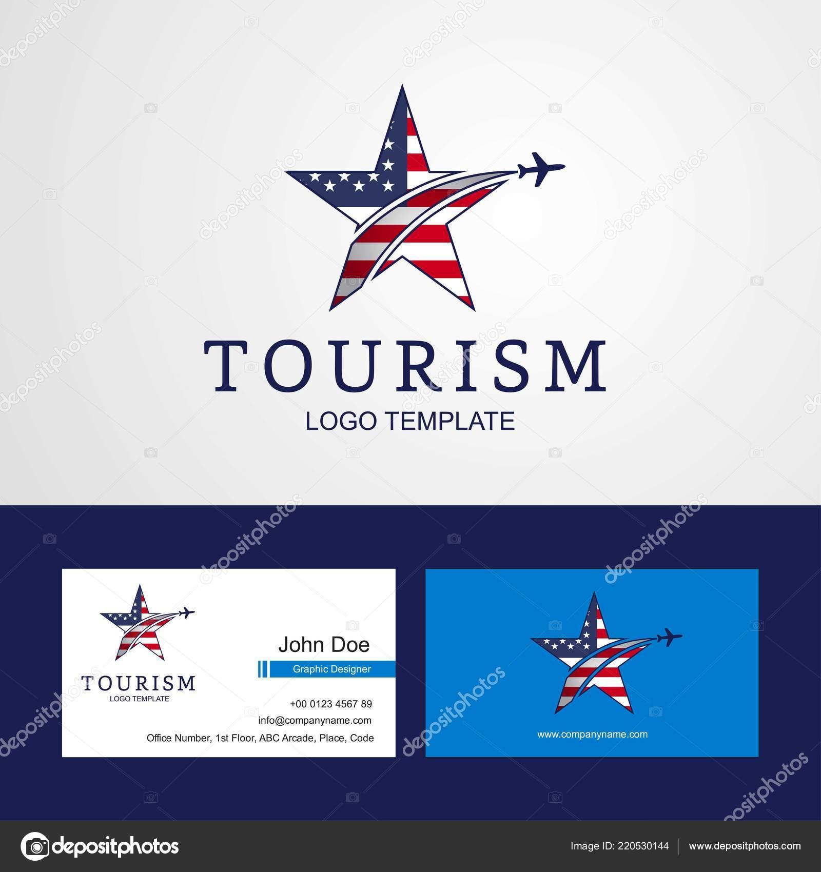 Voyager Aux Etats Unis Drapeau Design Creatif Star Logo Et Carte De Visite Vecteur Par Ibrandify