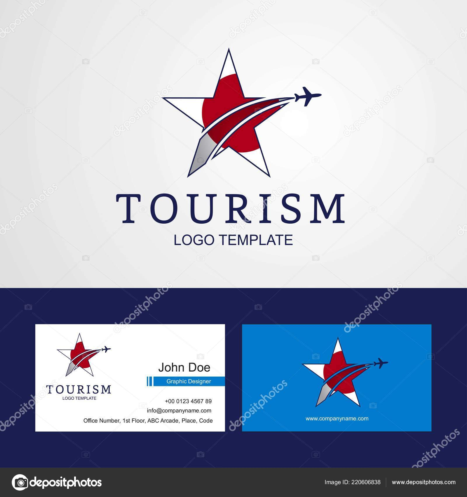 Reisen Sie Japan Flagge Creative Star Logo Und Visitenkarten
