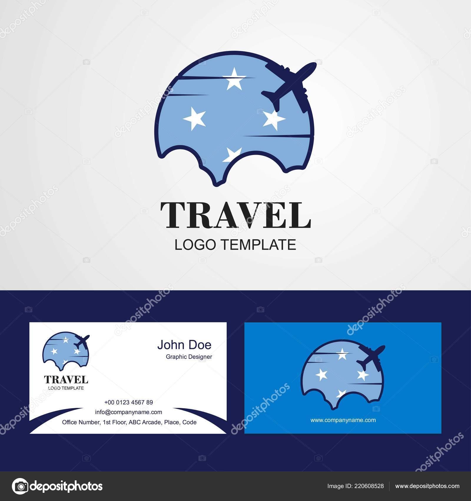 Micronesie Etats Federes Flag Logo Conception Carte Visite Voyage Image Vectorielle