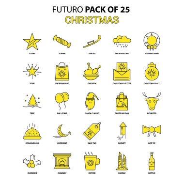 Christmas Icon Set. Yellow Futuro Latest Design icon Pack icon