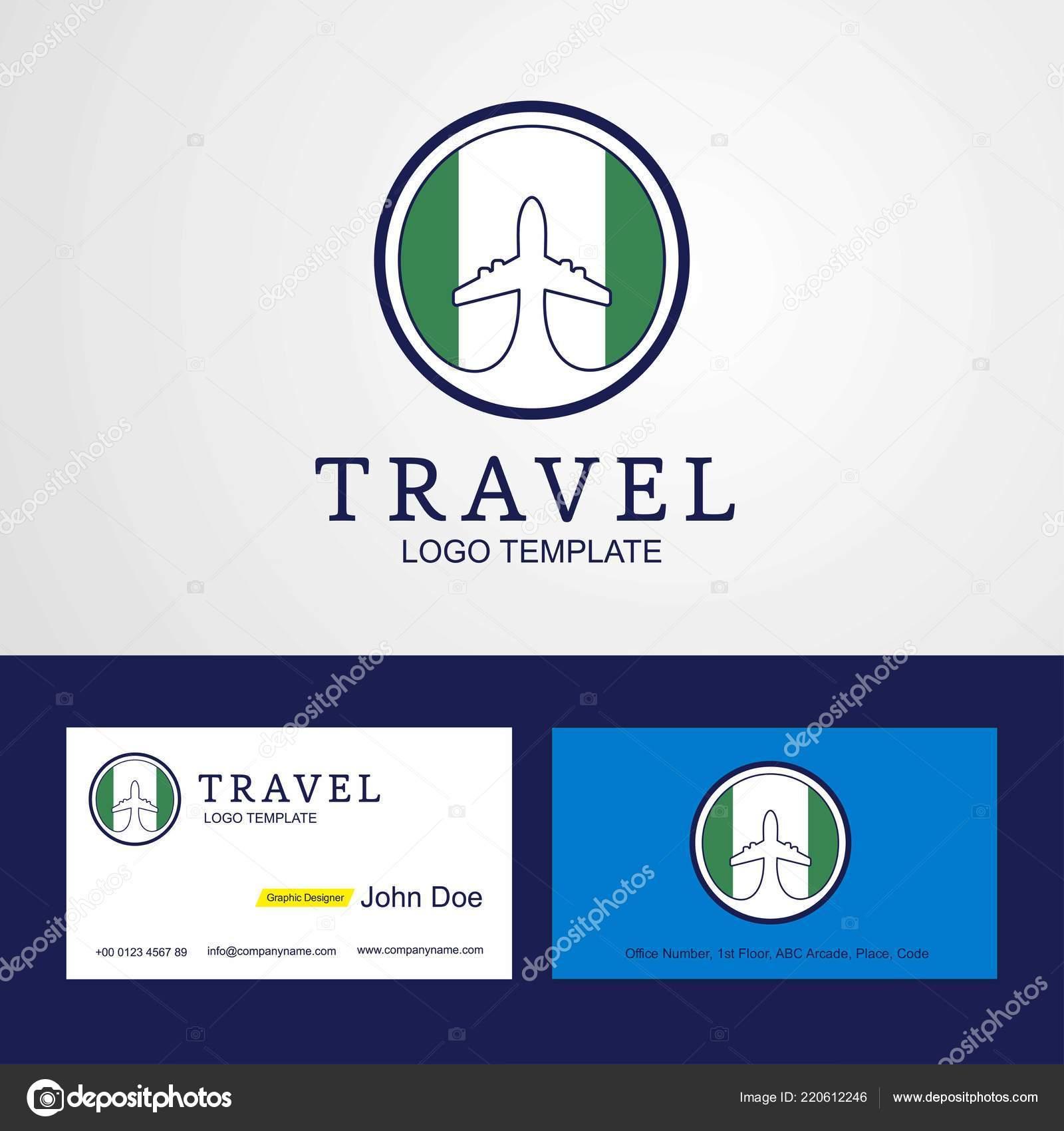 Voyage Drapeau Nigeria Creative Circle Design Logo Carte Visite Image Vectorielle
