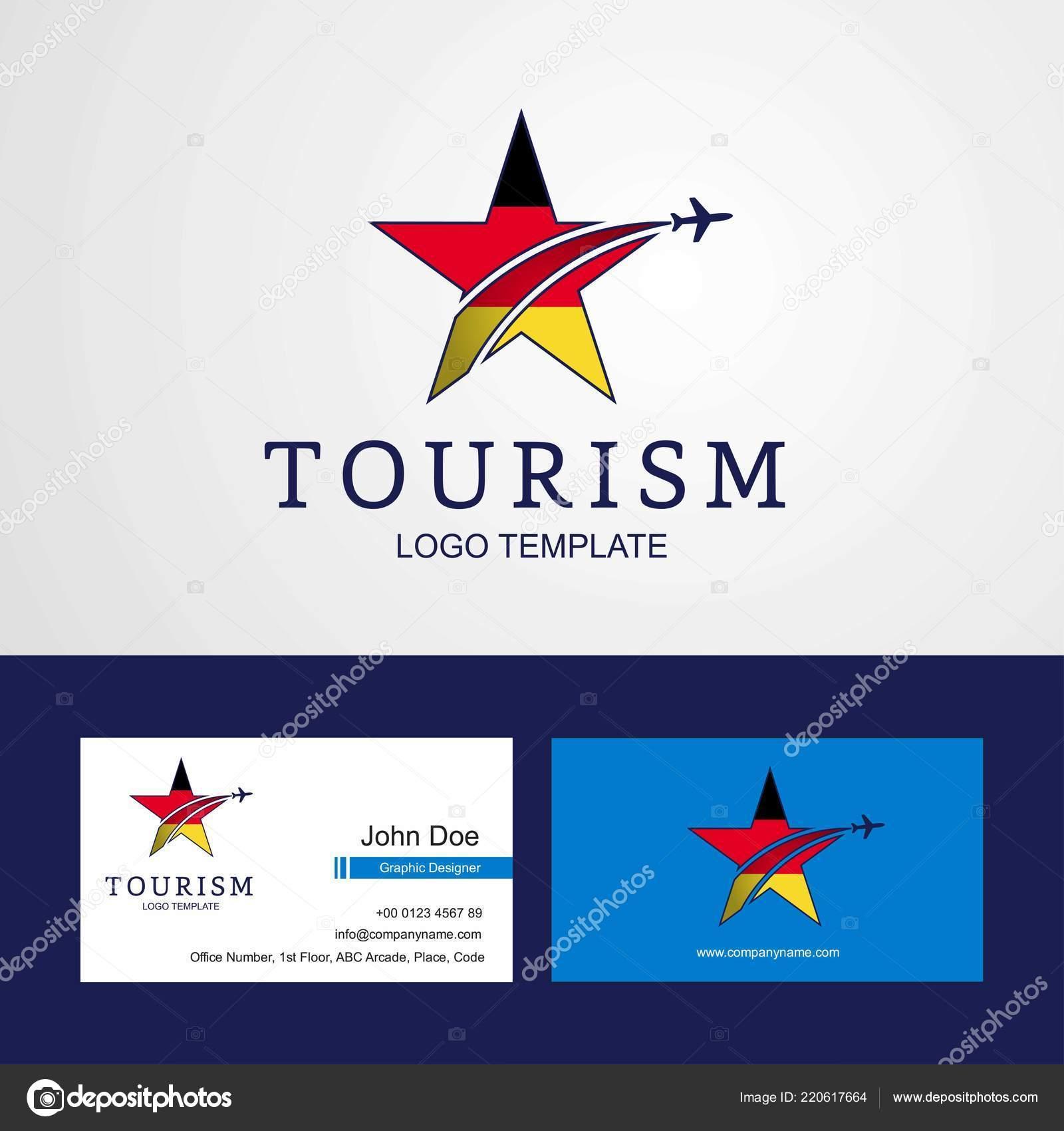 Voyage Allemagne Drapeau Design Creatif Star Logo Et Carte De Visite Vecteur Par Ibrandify