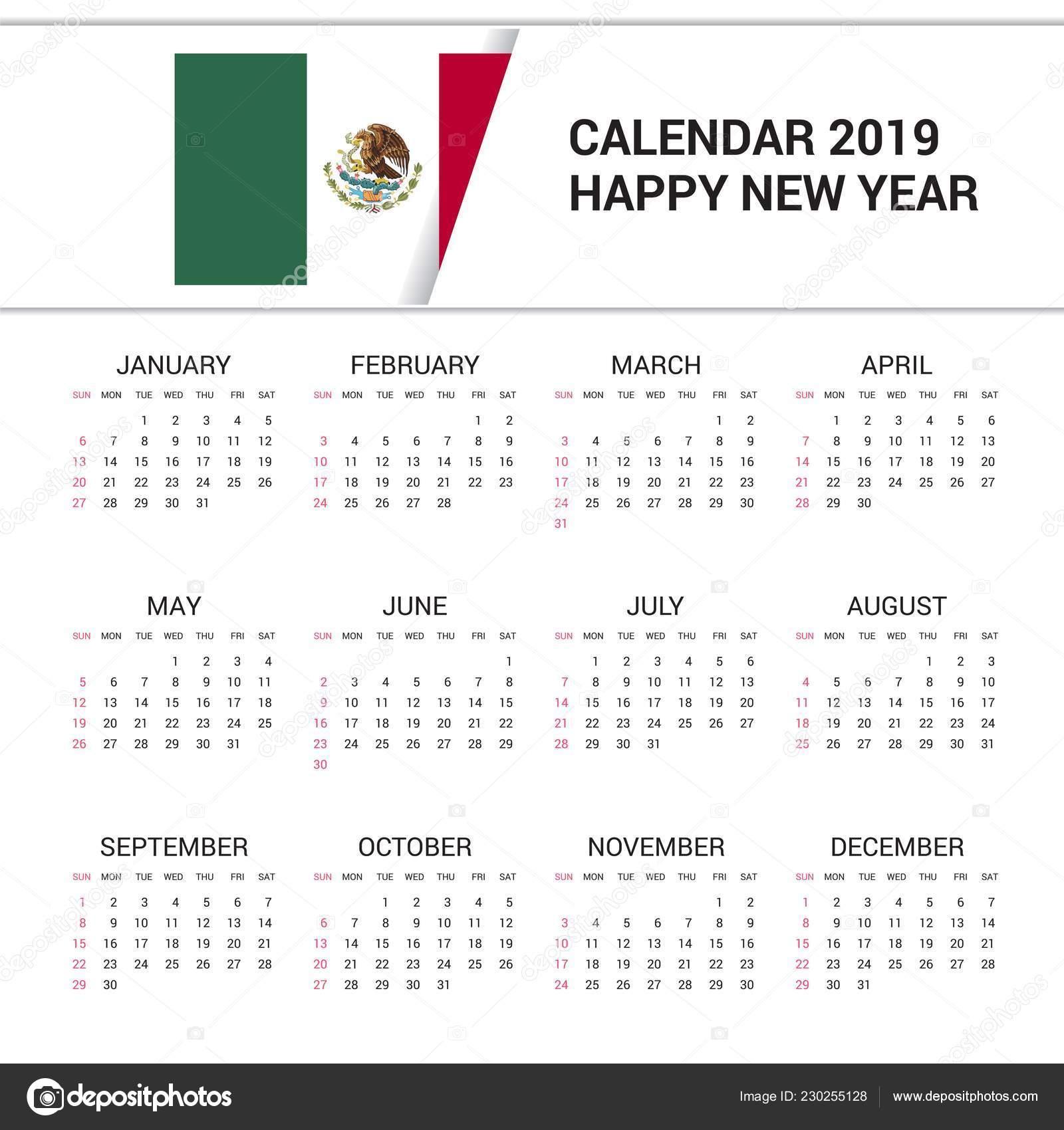 Mexico Calendar 2019 Calendar 2019 Mexico Flag Background English Language — Stock