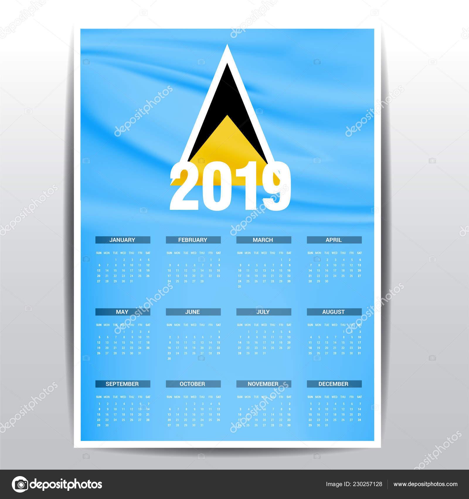 Santa Lucia Calendario.Fondo Calendario 2019 Bandera Santa Lucia Idioma Ingles