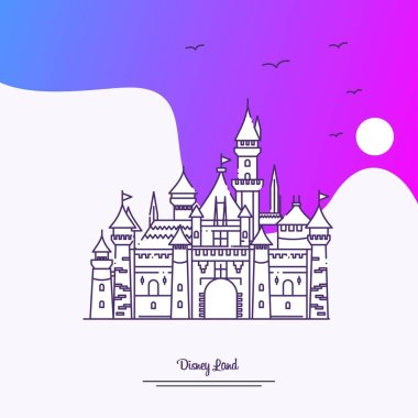 Travel DISNEY LAND Poster Template. Purple creative background