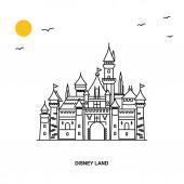Pomník Disney Land. Svět cestování přírodní obrázek pozadí v styl čáry