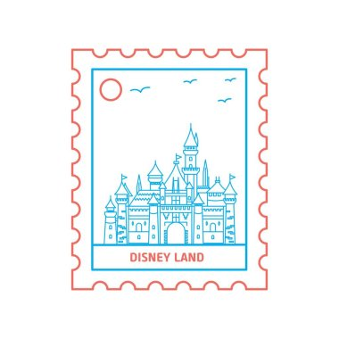 DISNEY LAND postage stamp Blue and red Line Style, vector illustration