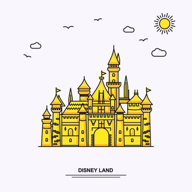DISNEY LAND Monument Poster Template. World Travel Yellow illustration Background in Line Style with beauture nature Scene