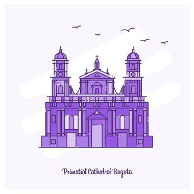 PRIMATIAL CATHEDRAL BOGOTA Landmark Purple Dotted Line skyline vector illustration