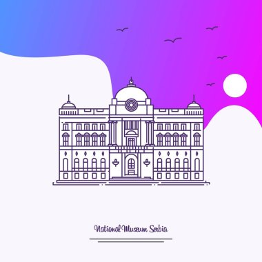 Travel NATIONAL MUSEUM SERBIA Poster Template. Purple creative background