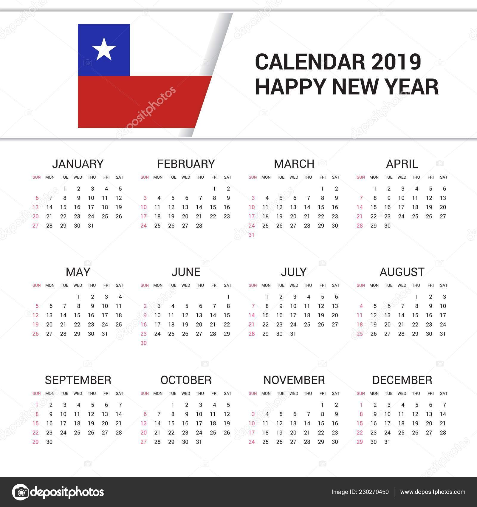 Calendario Chile 2019.Fondo Calendario 2019 Chile Bandera Idioma Ingles Vector