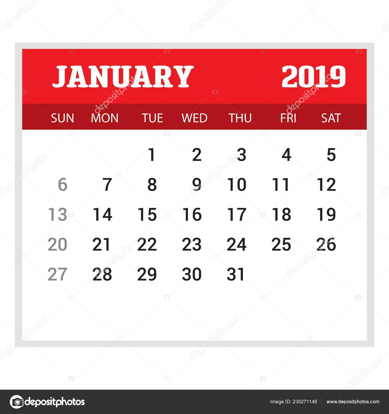2019 happy new year january calendar template christmas background
