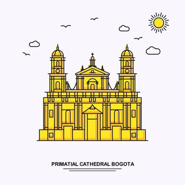 PRIMATIAL CATHEDRAL BOGOTA Monument Poster Template. World Travel Yellow illustration Background in Line Style with beauture nature Scene