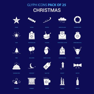 Christmas White icon over Blue background. 25 Icon Pack icon
