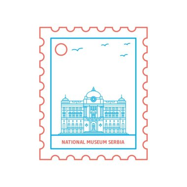 NATIONAL MUSEUM SERBIA postage stamp Blue and red Line Style, vector illustration