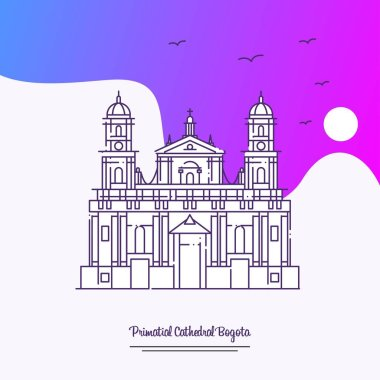 Travel PRIMATIAL CATHEDRAL BOGOTA Poster Template. Purple creative background