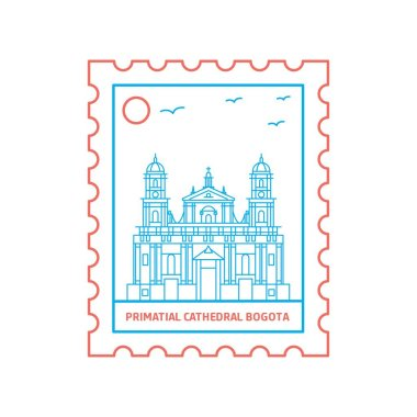 PRIMATIAL CATHEDRAL BOGOTA postage stamp Blue and red Line Style, vector illustration