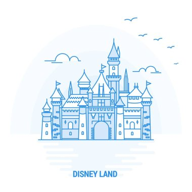 DISNEY LAND Blue Landmark. Creative background and Poster Template