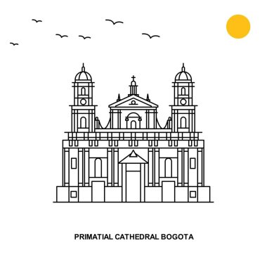 PRIMATIAL CATHEDRAL BOGOTA Monument. World Travel Natural illustration Background in Line Style