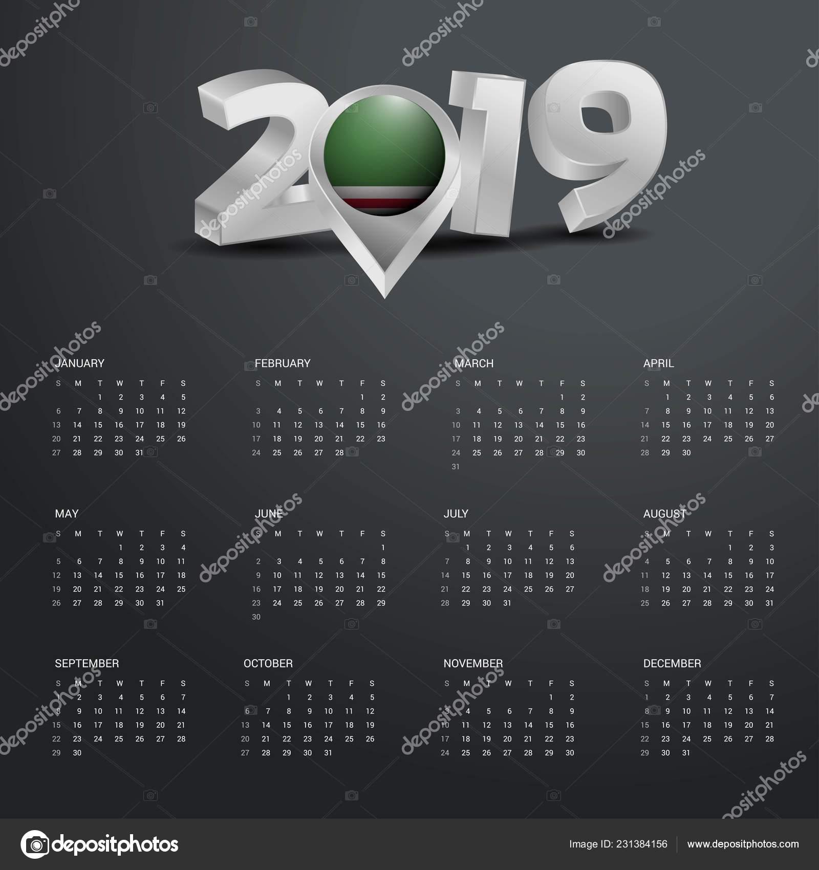 Calendario Repubblica.Modello Calendario Del 2019 Tipografia Grigio Con Ceceno