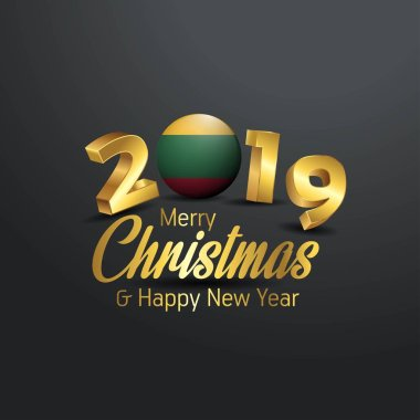 Lithuania Flag 2019 Merry Christmas Typography. New Year Abstract Celebration background