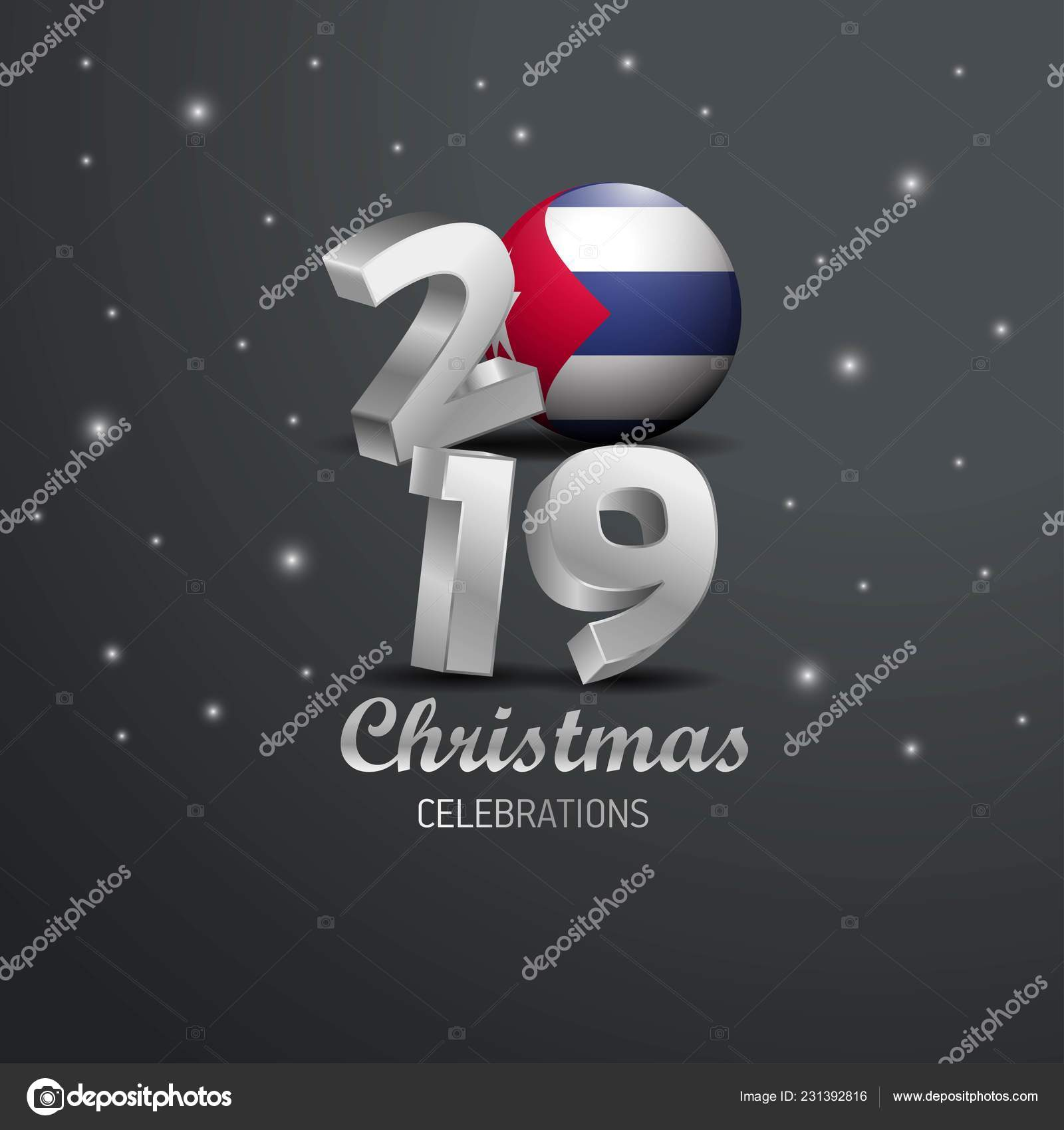 Christmas In Cuba 2019.Cuba Flag 2019 Merry Christmas Typography New Year Abstract