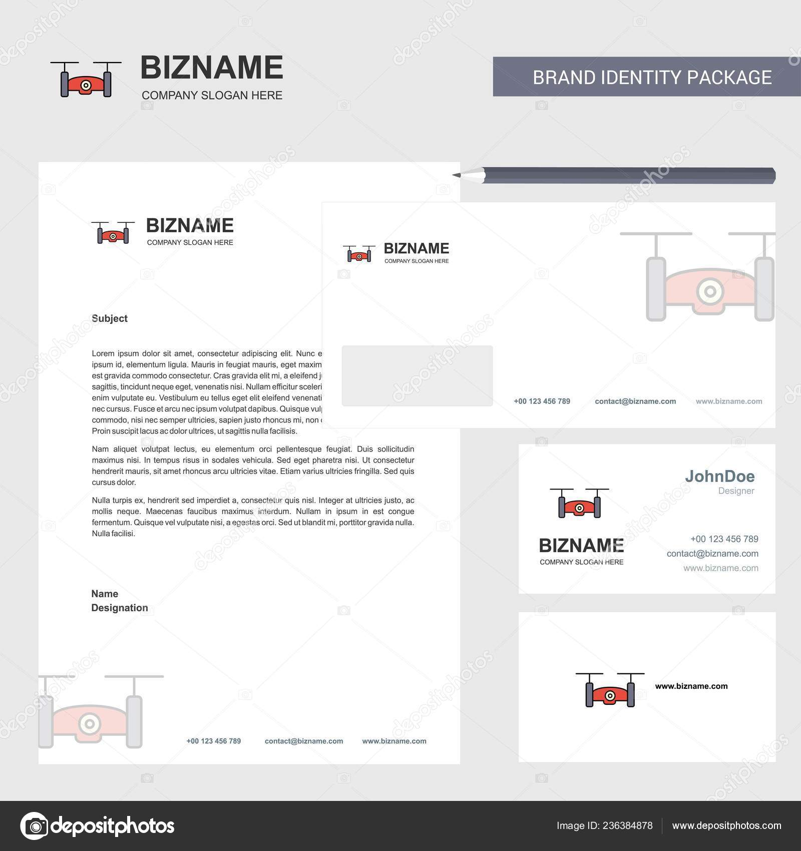 Drone Camera Business En Tete De Lettre Enveloppe Et Modele Carte Visite Design Vectoriel Illustration Stock