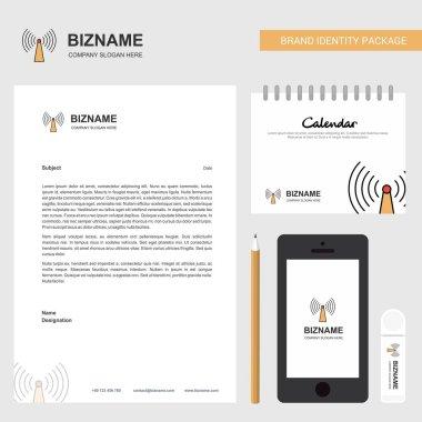 Wifi Business Letterhead, Calendar 2019 and Mobile app design vector template