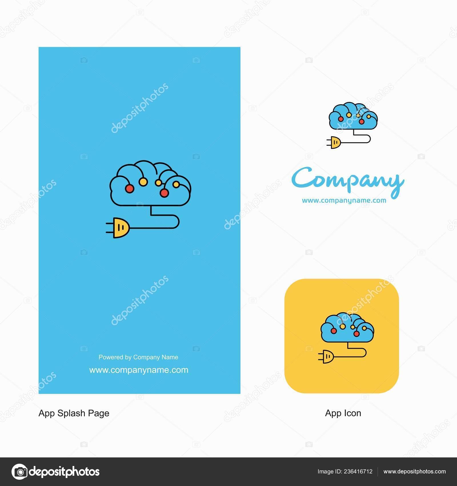 Brain Circuit Company Logo App Icon Splash Page Design