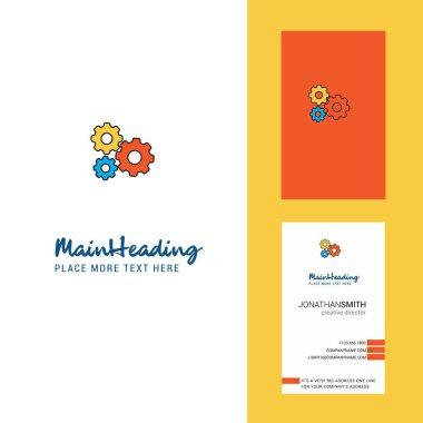 Gear setting  Creative Logo and business card. vertical Design Vector