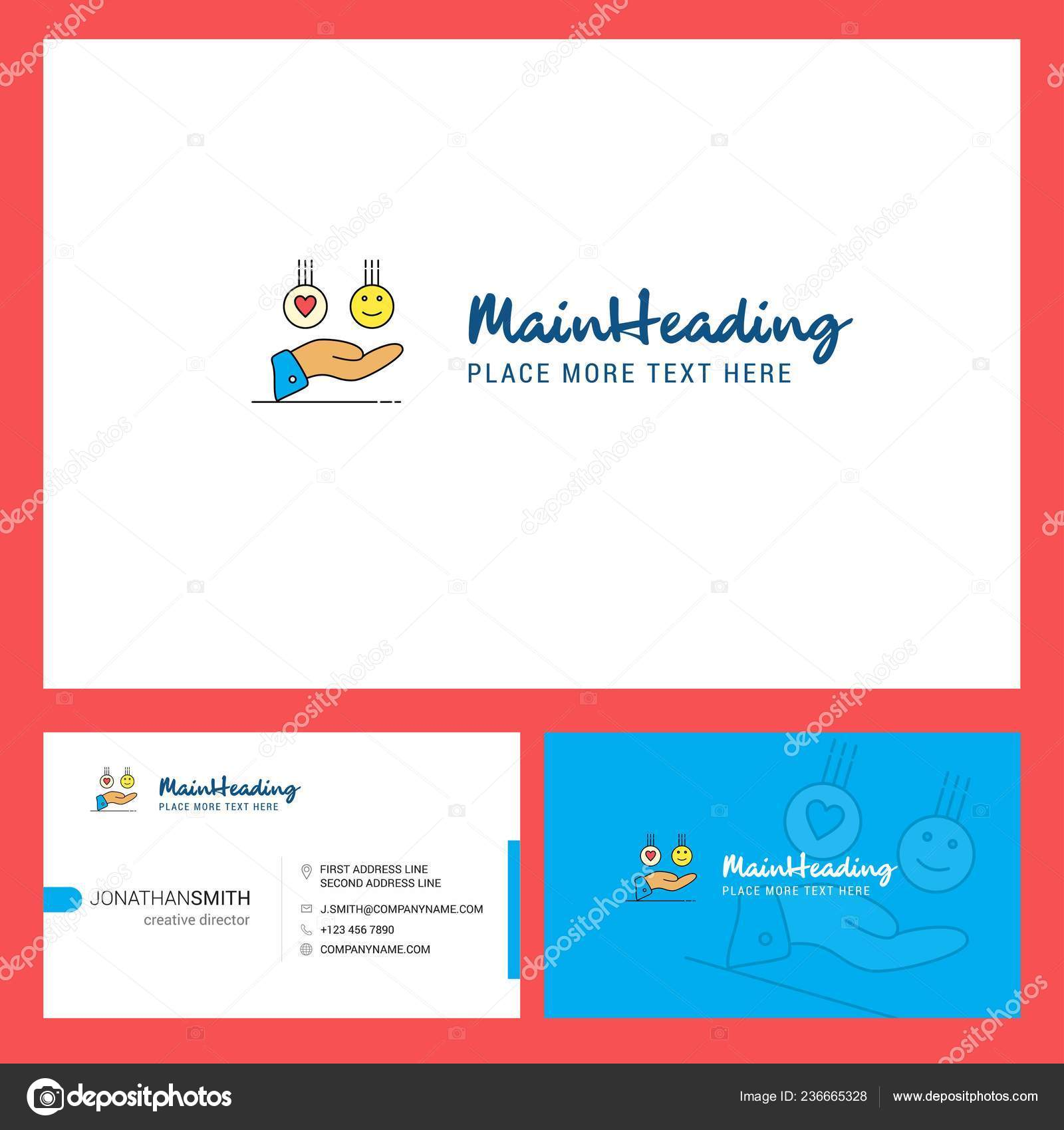 Creation De Logo Avec Slogan Avant Et Arriere Modele Carte Visite Vector Design Creatif Illustration Stock