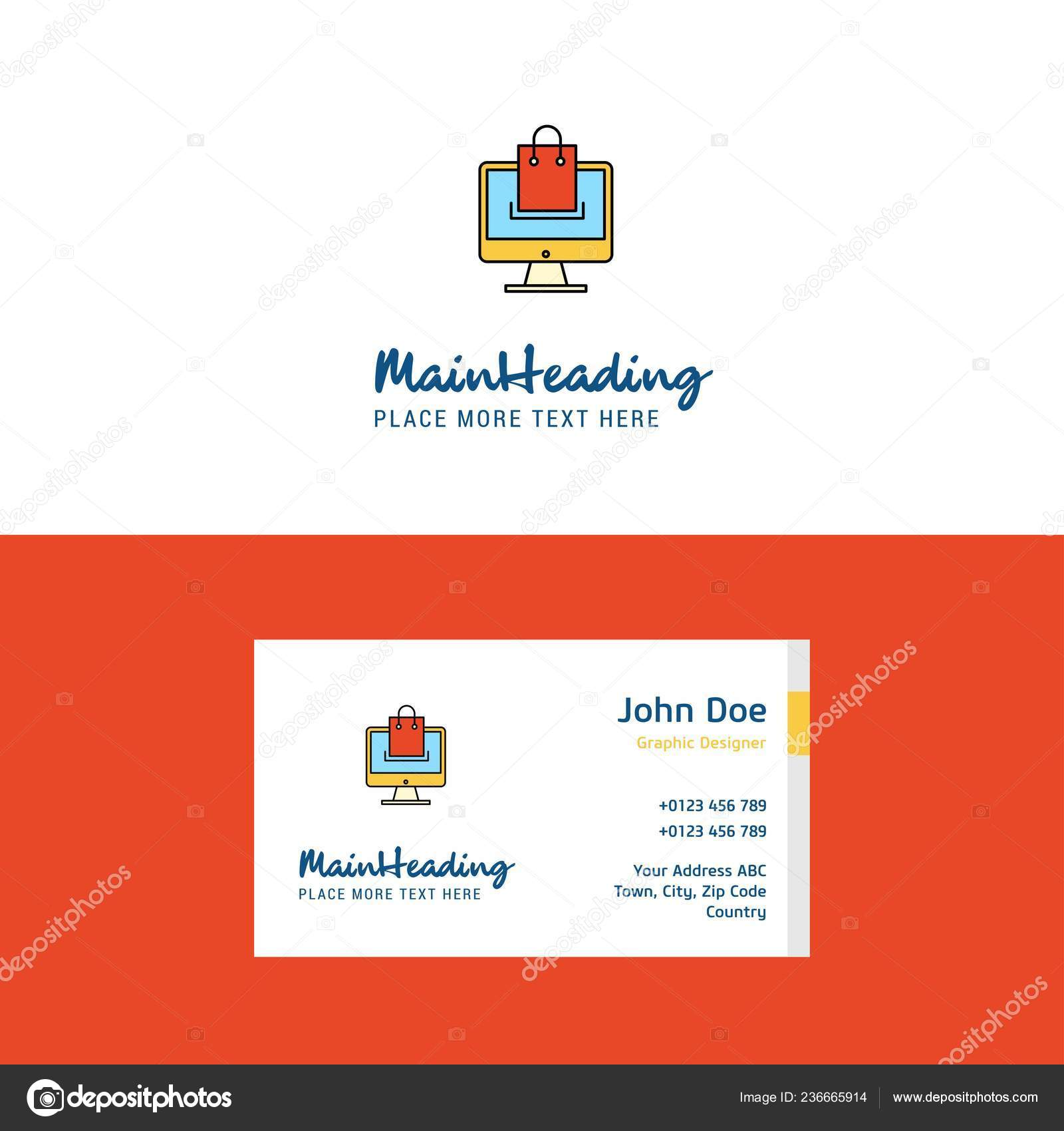Flache Online Einkaufen Logo Und Visitenkarte Vorlage