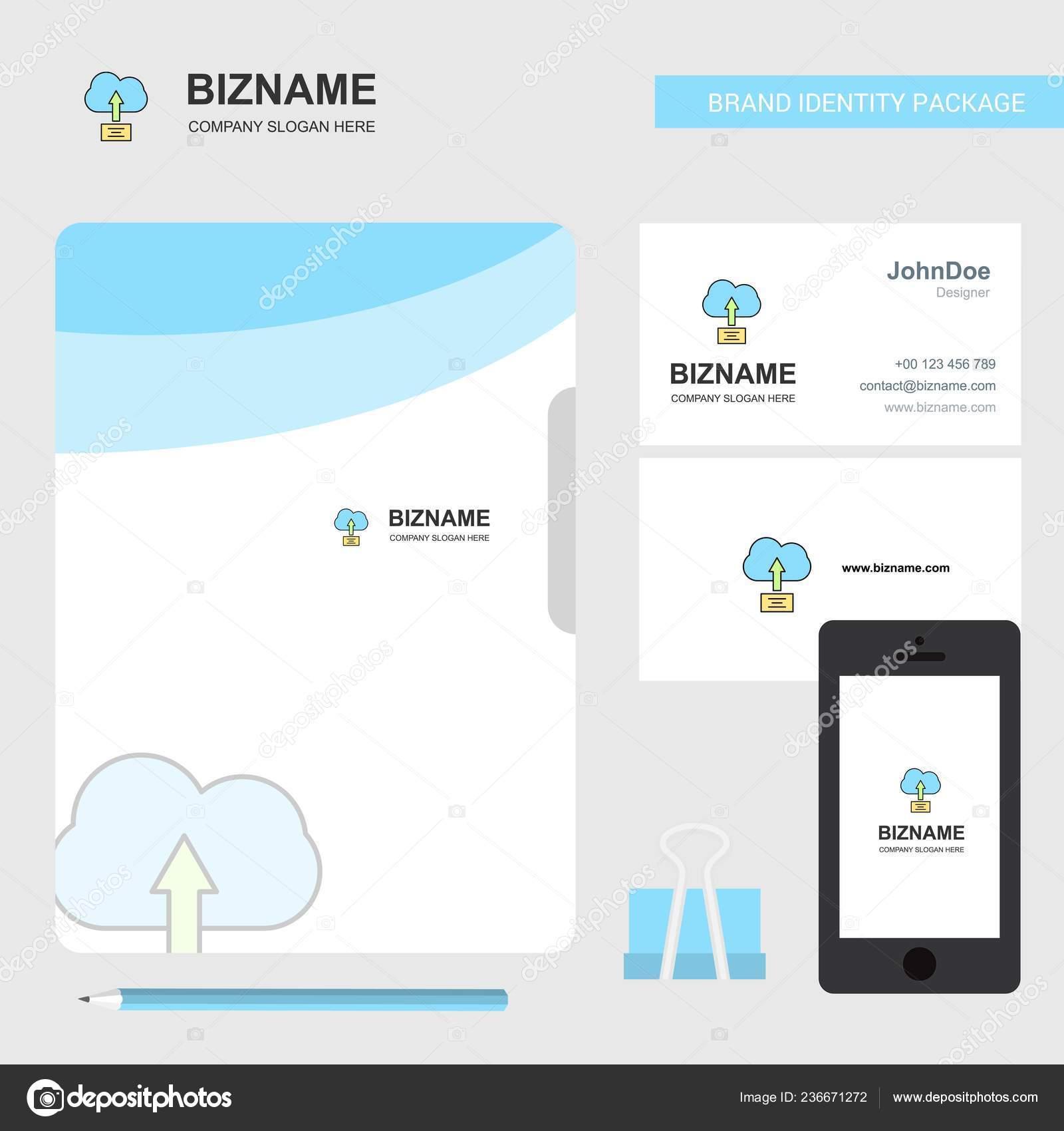 Hochladen Auf Wolke Firmenlogo Visitenkarte Datei Abdecken