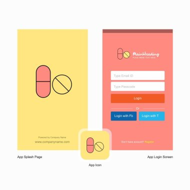 Company Medicine  Splash Screen and Login Page design with Logo template. Mobile Online Business Template