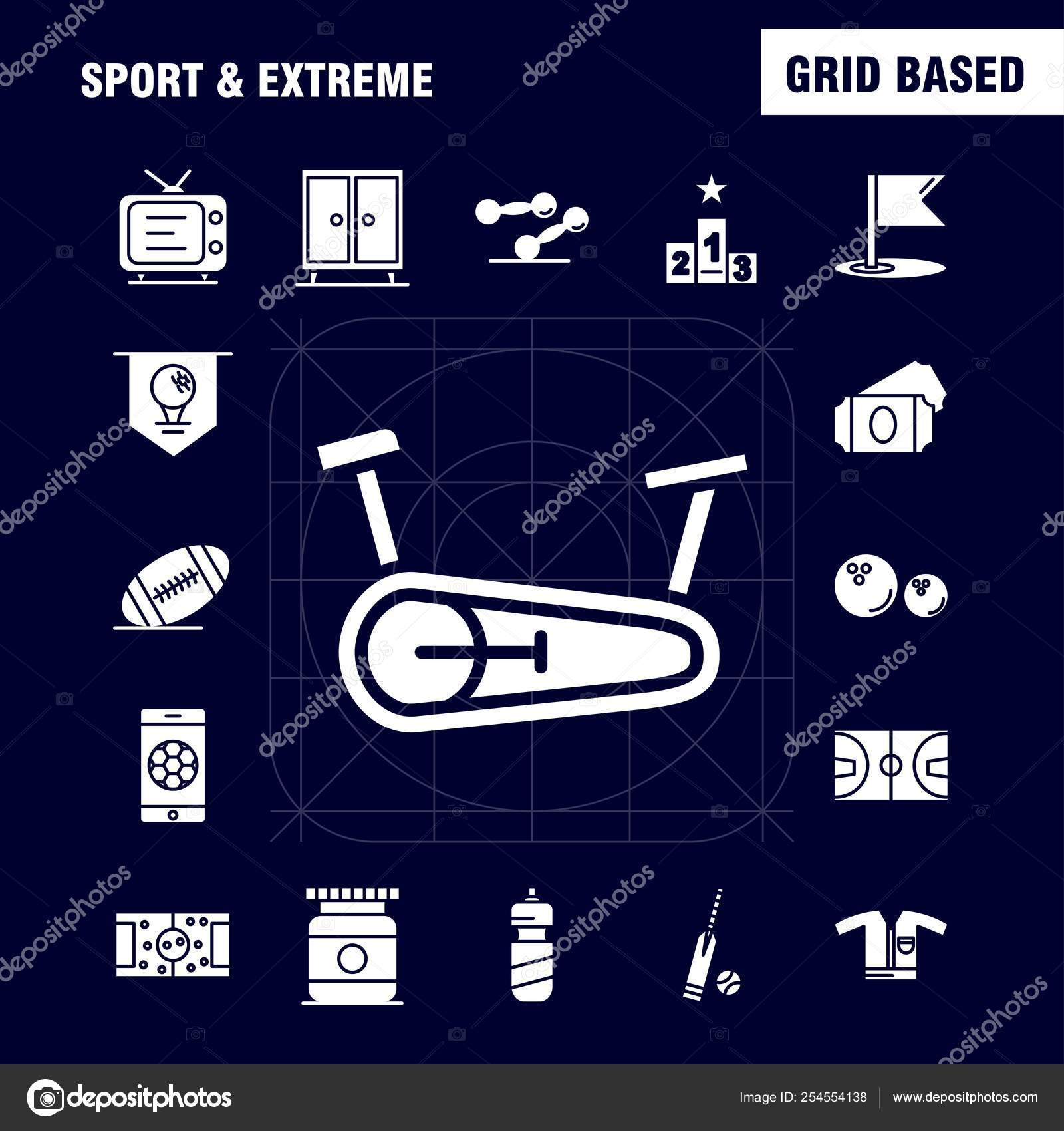 Sport Extreme Solid Glyph Icons Set Infographics Mobile Kit