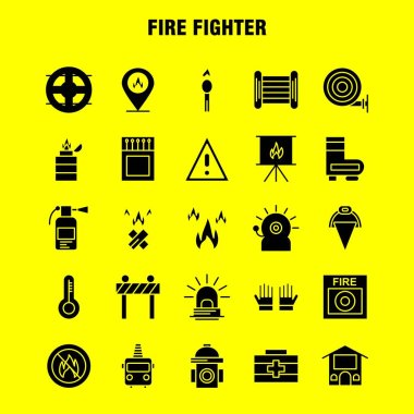 Fire Fighter Solid Glyph Icon for Web, Print and Mobile UX/UI Kit. Such as: Burn, Fighter, Fire, Fireman, Barrier, Board, Fighter, Fire, Pictogram Pack. - Vector icon
