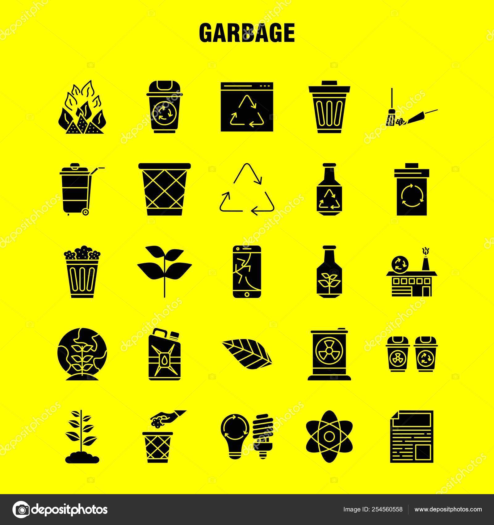 Garbage Solid Glyph Icon Web Print Mobile Kit Atom Energy