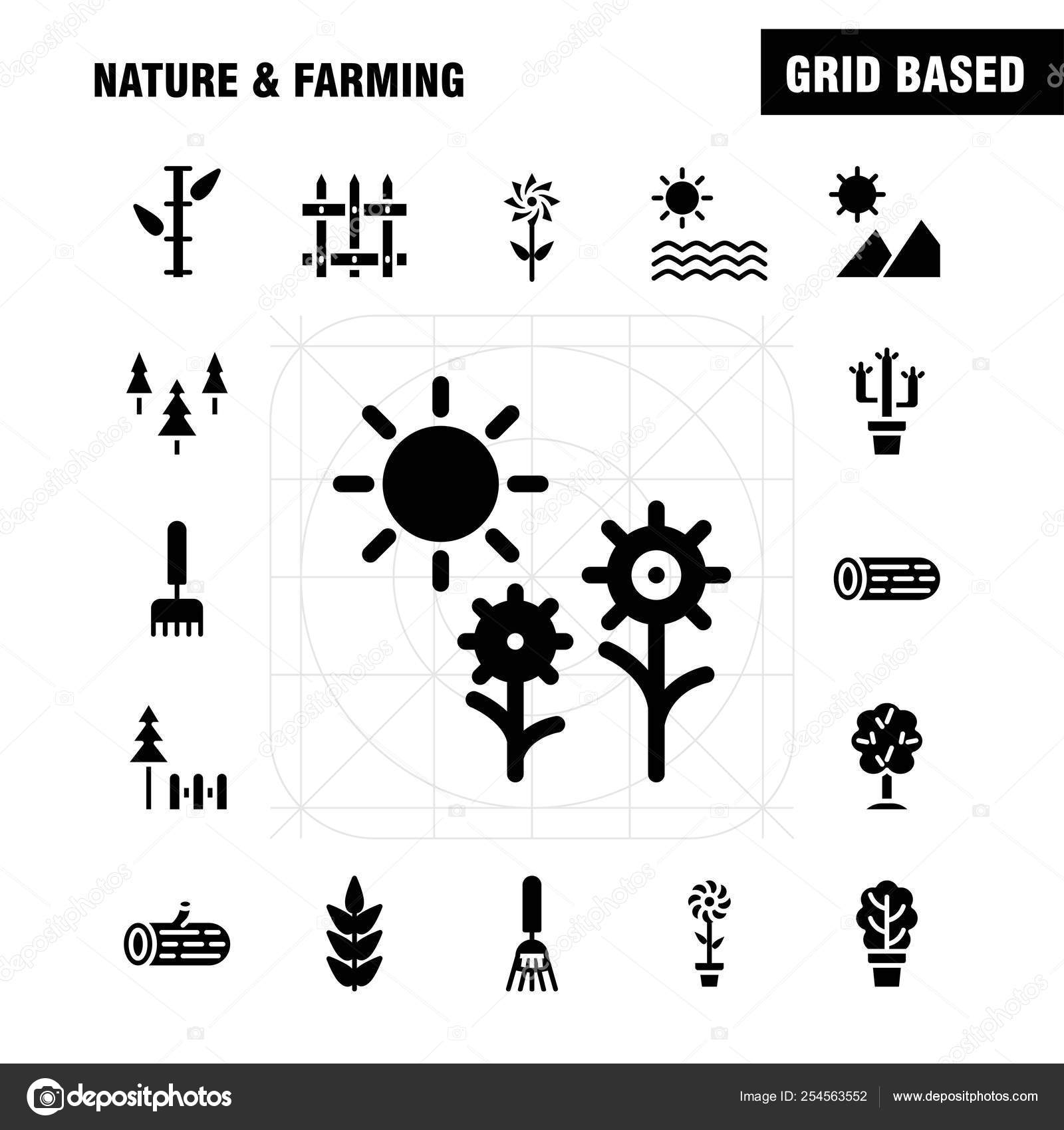 Nature Farming Solid Glyph Icon Pack Designers Developers