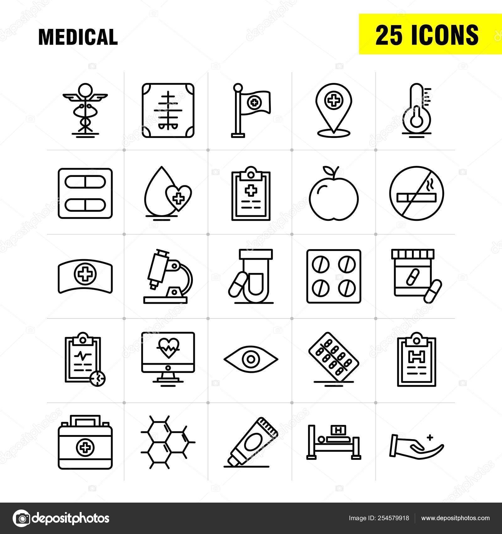 Línea Médica Icons Set Para Infografías Móvil Diseño Impresión