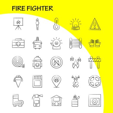 Fire Fighter Hand Drawn Icon for Web, Print and Mobile UX/UI Kit. Such as: Burn, Fighter, Fire, Fireman, Barrier, Board, Fighter, Fire, Pictogram Pack. - Vector icon