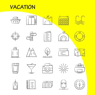 Vacation Hand Drawn Icons Set For Infographics, Mobile UX/UI Kit And Print Design. Include: Picnic, Summer, Vacation, Building, Vacation, City, Flag, Board, Icon Set - Vector