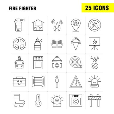 Fire Fighter Line Icon for Web, Print and Mobile UX/UI Kit. Such as: Burn, Fighter, Fire, Fireman, Barrier, Board, Fighter, Fire, Pictogram Pack. - Vector icon