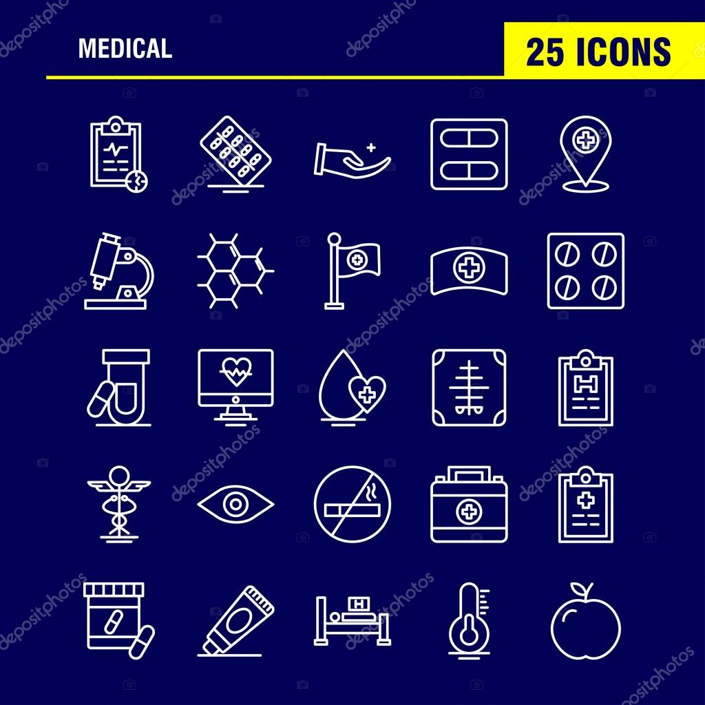 Medical  Line Icons Set For Infographics, Mobile UX/UI Kit And Print Design. Include: Water Melon, Melon, Fruit, Food, Bones, Broken Bones, Collection Modern Infographic Logo and Pictogram. - Vector